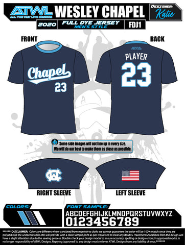 Wesley Chapel Advanced Baseball 2020  Full Dye Jersey