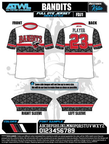 Bandits 8U Full Dye Jerseys