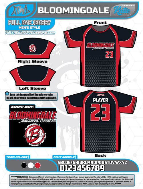 Bloomingdale Advanced Baseball/ Xtreme Softball Jersey Fall 2018