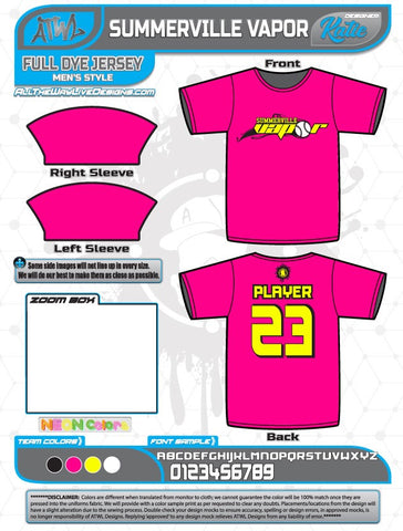 Summerville Vapor Hot Pink Full dye jersey