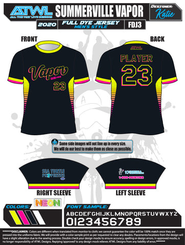 Summerville Vapor 2020 Black Full dye jersey