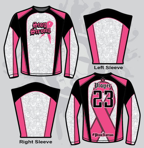 Stay Strong Mens Full Dye Jersey Long Sleeve Cancer Awareness