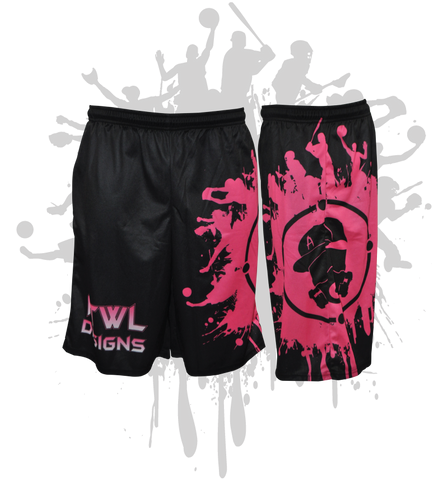 Splatter Splash Mens Full Dye Shorts Black/Pink