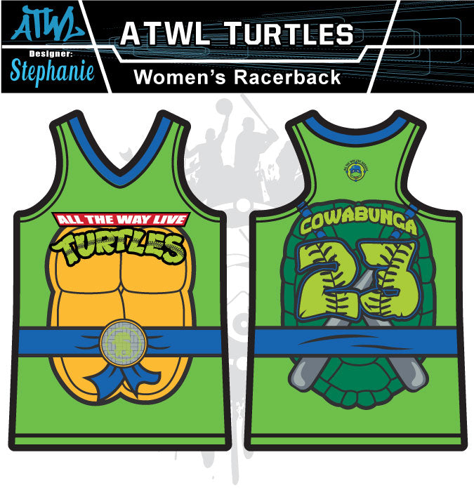 Cowabunga Turtles Womens Racer Back Full Dye Jersey