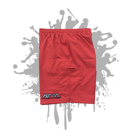 Red Microfiber Stretch Shorts