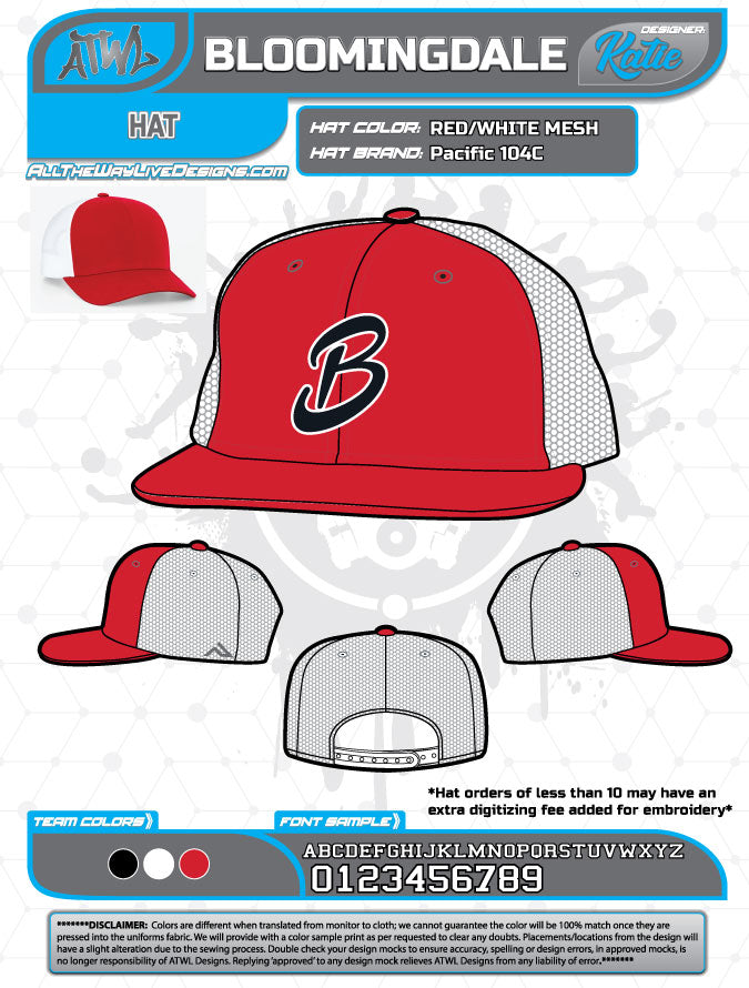Bloomingdale Advanced Baseball/Xtreme Softball Hat Fall 2018