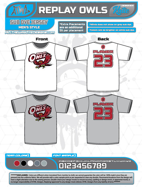 REPLAY OWLS SUB-DYE JERSEYS