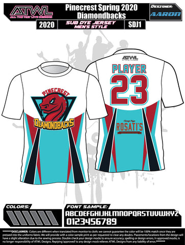 Pinecrest Spring  2020 Sub dye Mens Team Jerseys