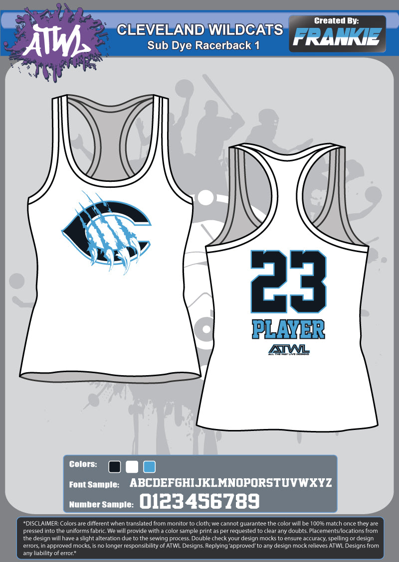 Cleveland Wildcats Sub Dye Racer