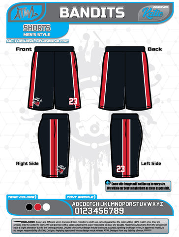 Bandits Baseball 11U Full Dye Short