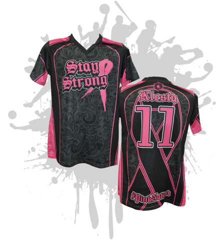Stay Strong Womens Full Dye Jersey Cancer Awareness Black