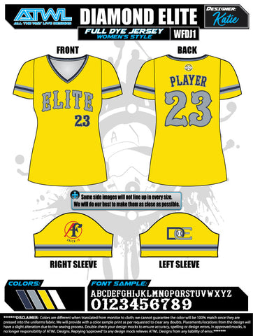 Diamond Elite Women's Full Dye Jerseys