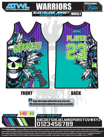 Warriors Full Dye Women's Sleeveless Jersey