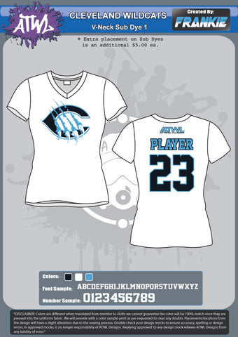 Cleveland Wildcats Womans Sub Dye Jersey