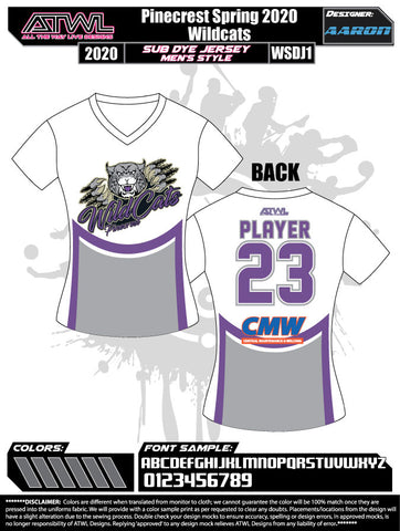 Pinecrest Spring  2020 Womens  Sub dye Womens Team Jerseys