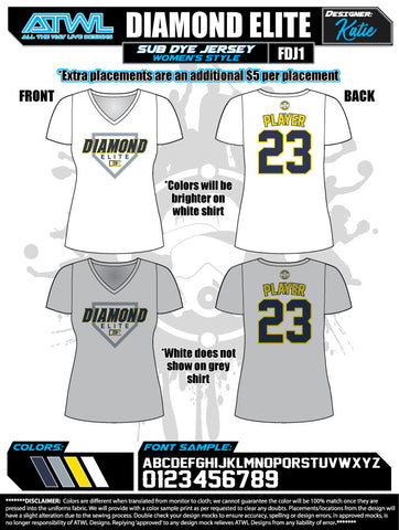 Diamond Elite Women's Sub Dye Jerseys