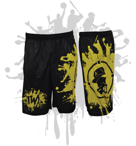 Splatter Splash Mens Full Dye Shorts Black/Yellow