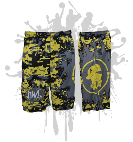 Splatter Splash Digital Camo Mens Full Dye Shorts Yellow/Black/Charcoal