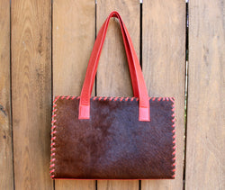 Orange Tote, brown, green