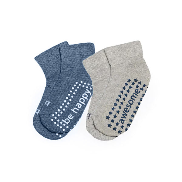 NEW Toddler Boy Solid 2 Pack Grip Socks 2T-4T (TOMMY)