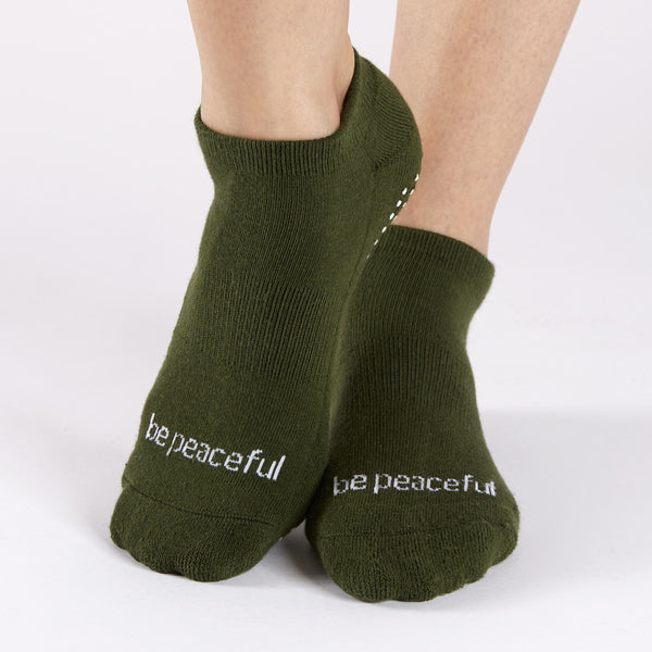SALE Be Peaceful Grip Socks (Army Green/White)