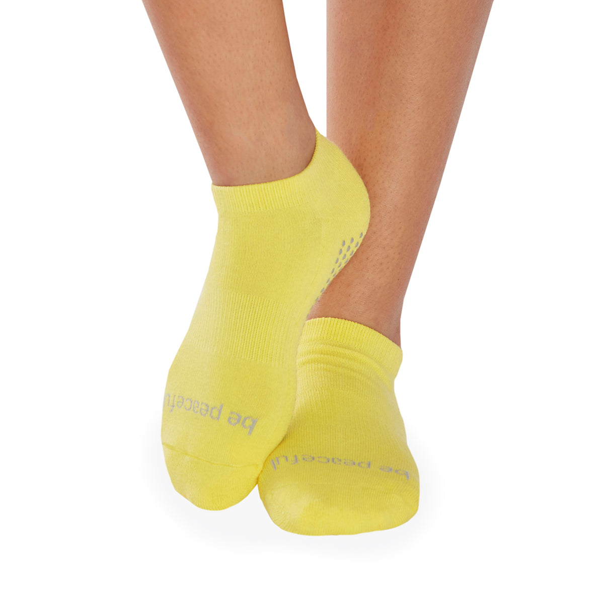 SALE Be Peaceful Grip Socks(Lemon/Cool Grey)
