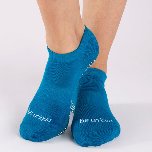 Be Unique Grip Socks (Teal/White)