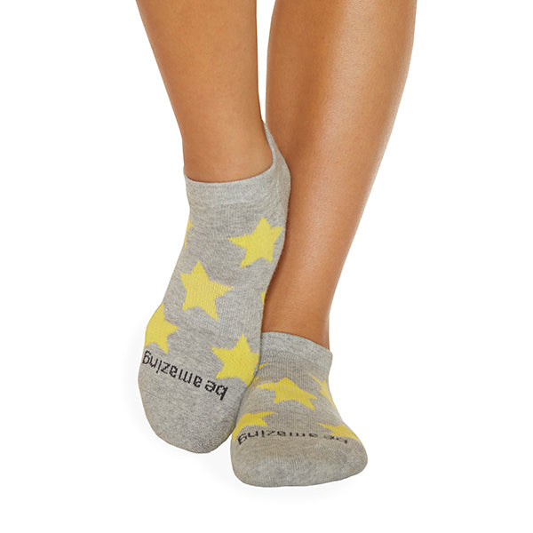 Be Amazing Grip Socks (Heather/Maize Stars)