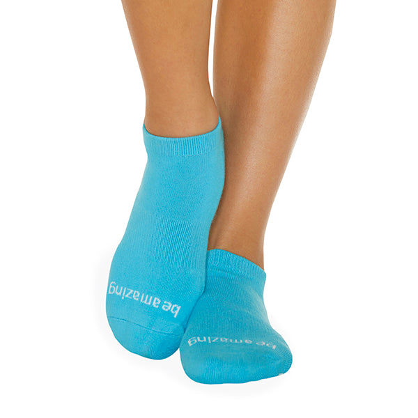 Be Amazing Grip Socks (Turquoise/White)