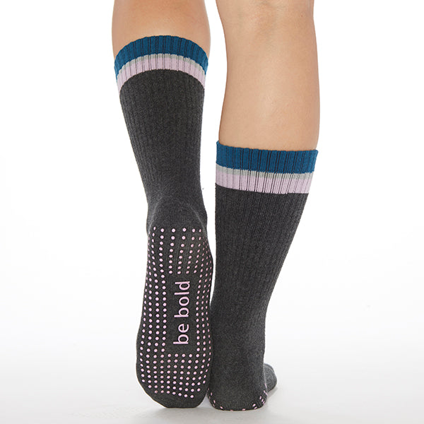 CREW Be Bold Grip Socks (Charcoal/Lilac)