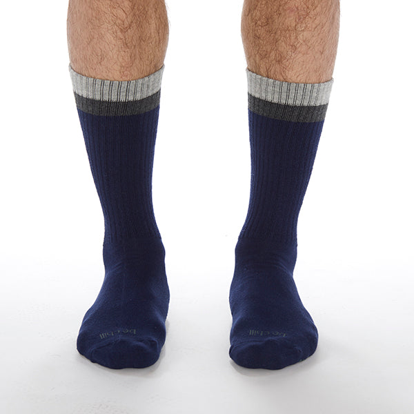 MENS CREW Be Chill Grip Socks (Navy/Charcoal)