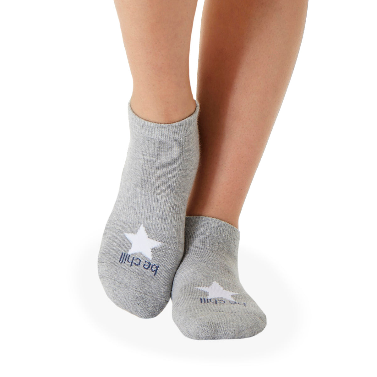 POM POM Be Chill Grip Socks (Heather Grey/White Star)