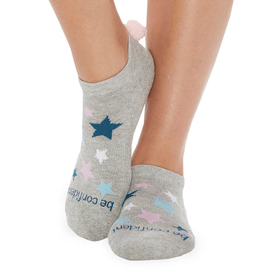 POM POM Be Confident Grip Socks (Heather/Stars)