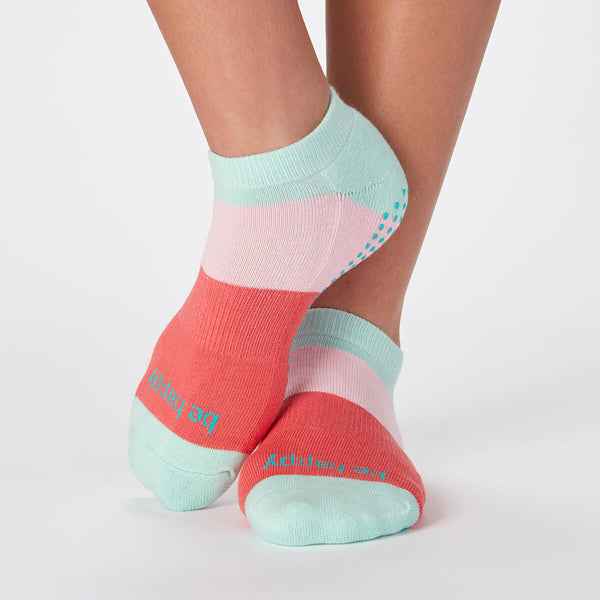 Be Happy Dylan Colorblock Grip Socks (Bloom)