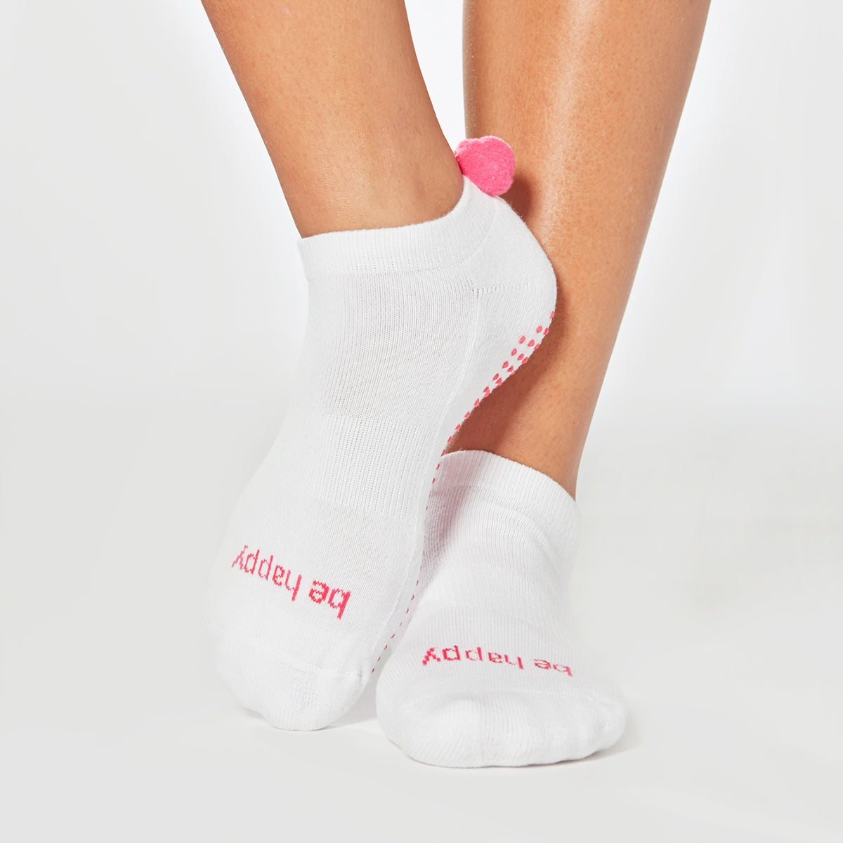 POM POM Be Happy Grip Socks (White/Hot Pink)
