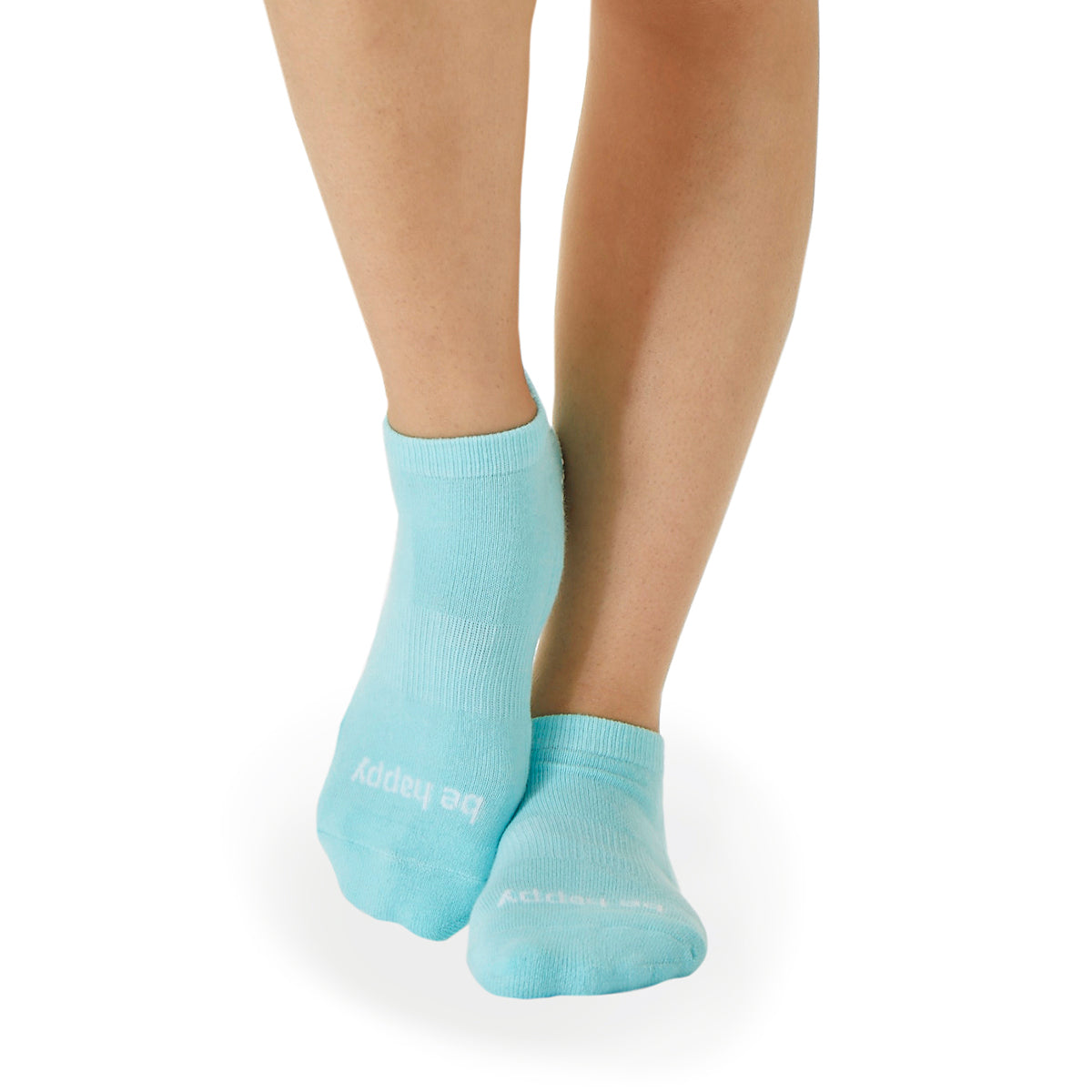 Be Happy Grip Socks (Light Sea/White)