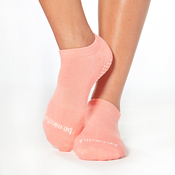 Be Mindful Grip Socks (Coral/White)