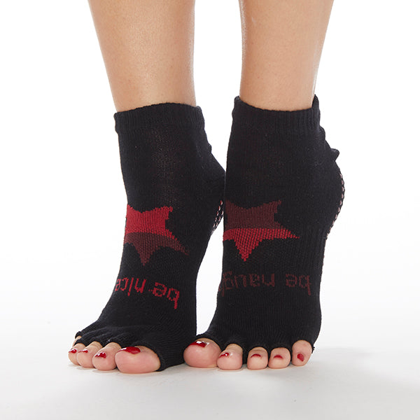 NEW HALF TOE Be Naughty/Be Nice Grip Socks (Black/Star)