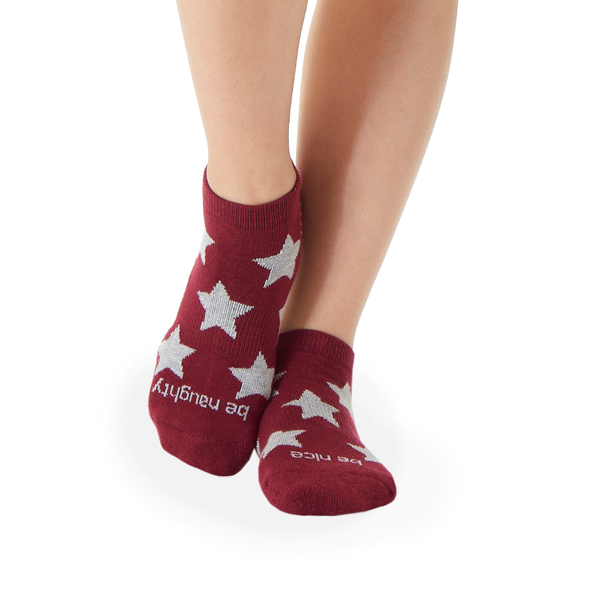 NEW Be Naughty Be Nice Grip Socks (Cranberry/Grey Stars)