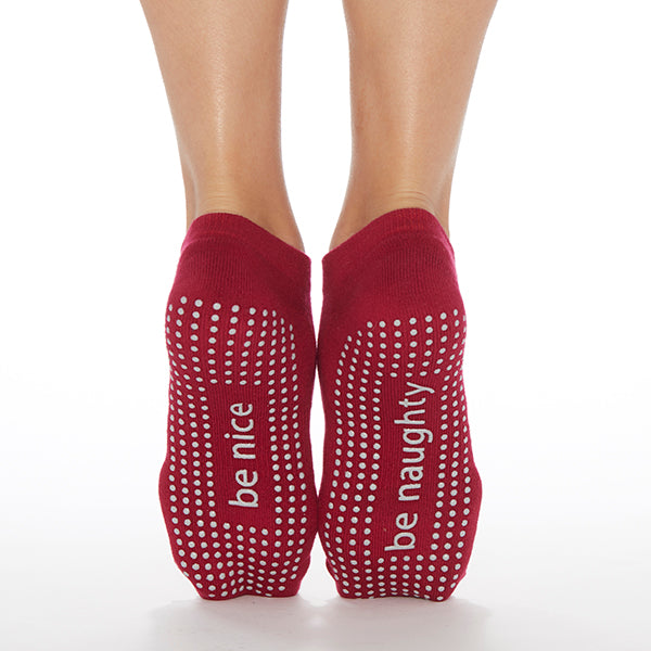 NEW Be Naughty/Be Nice Grip Socks (Cranberry/Silver)