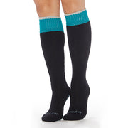 Be Present Knee High Socks (Black/Teal)