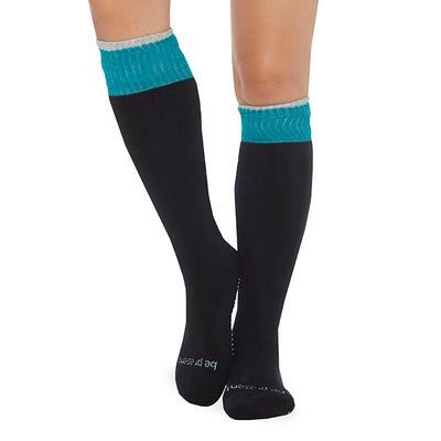 NEW Be Present Knee High Socks (Black/Teal)