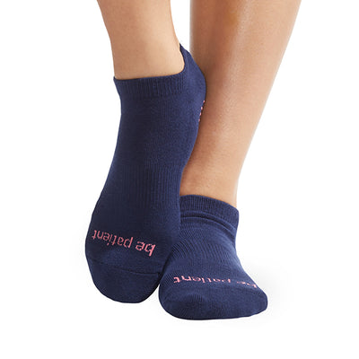 Be Patient Grip Socks (Navy/Melon)