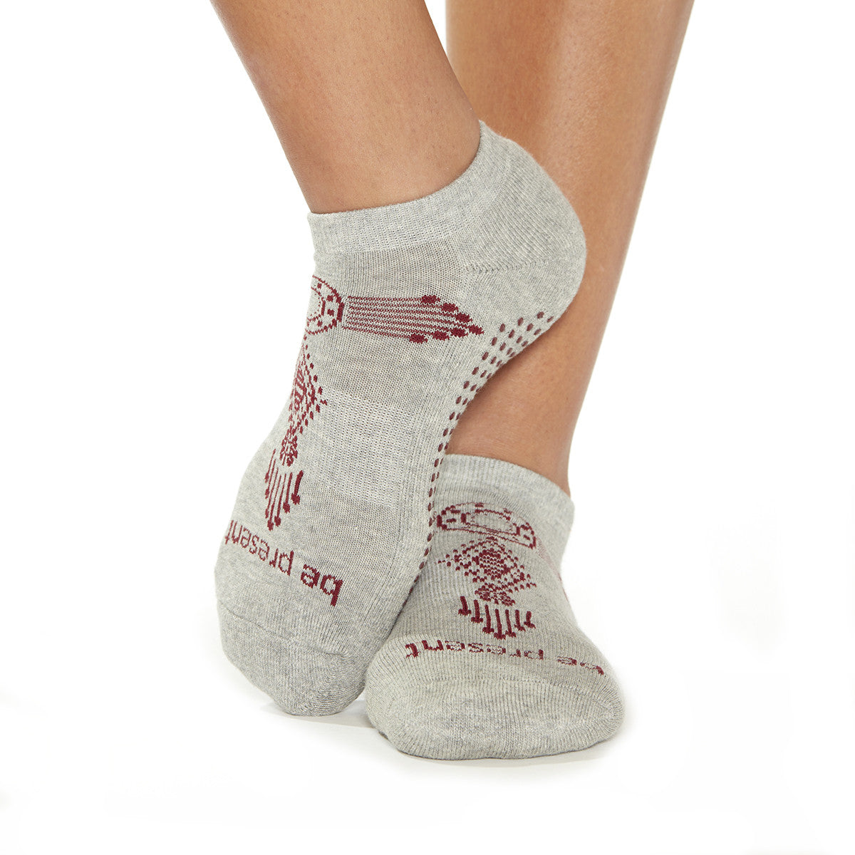 Be Present Henna Grip Socks (Heather Grey/Burgundy)