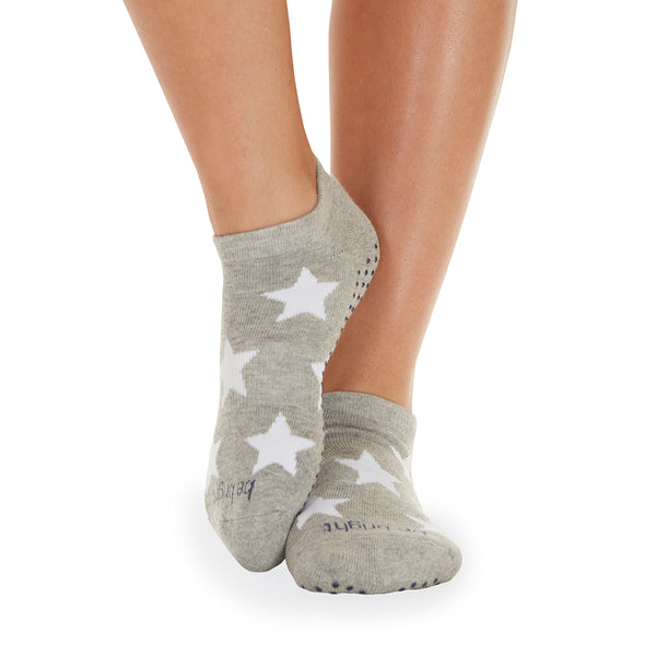 NEW! Be Bright Star Grip Socks (Heather Grey/White Stars)
