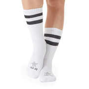 CREW Be You Grip Socks (White/Charcoal with Star)