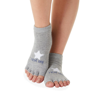 HALF TOE Be You Grip Socks (Heather Grey/ Navy with Star)