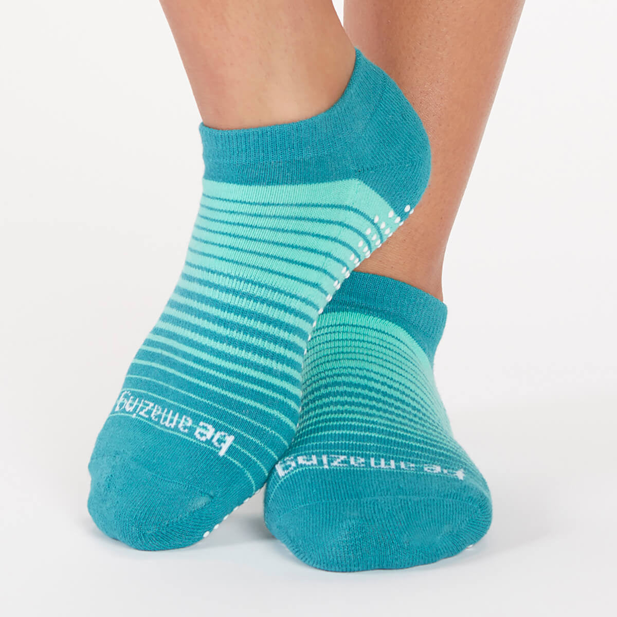 Be Amazing Hudson Pinstripe Grip Socks (Jade)