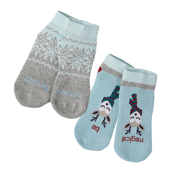 Kids Holiday 2 Pack Grip Socks 4T-6T (DASHER)