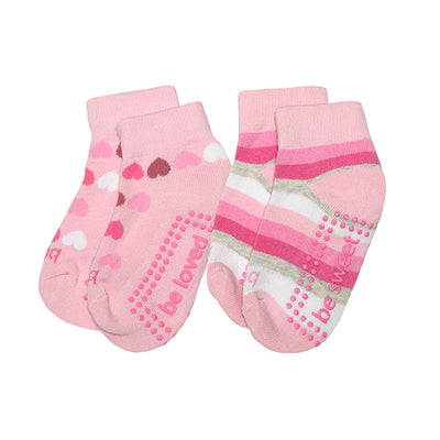 Girl 2 Pack Grip Socks 2T-4T (FIONA)